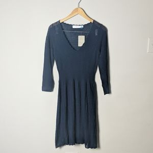 NWT Anthro Sparrow Navy Wool Pointelle Dress as M